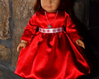 Red satin party dress for American Girl style dolls. Perfect for a Valentines Day party  Bonus gift included