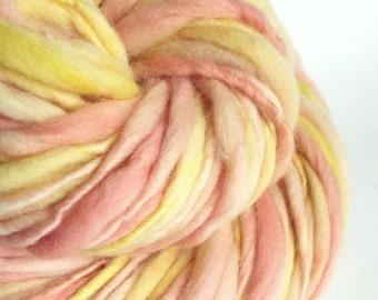 Handspun yarn, chunky merino thick and thin knitting yarn / wool, thick n thin yarn, pink yellow wool