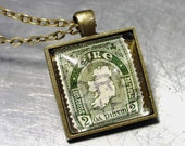 PENDANT Vintage IRELAND IRISH Stamp Copper or Brass Necklace St Patricks Day