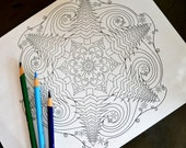 Blizzard, adult coloring page, downloadable holiday/winter/Christmas stress relief activity, snow, evergreen trees, wind mandala
