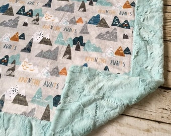 Adventure Awaits Woodland Mountain Double Sided Minky Blanket, Girl, Boy,blanket pin, baby bedding neutral, modern, shower gift guest
