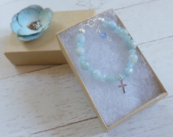 Baptism bracelet-baby boy baptism gift - baby girl baptism gift - newborn bracelet-cross jewelry -christening-boy gift-god child gift