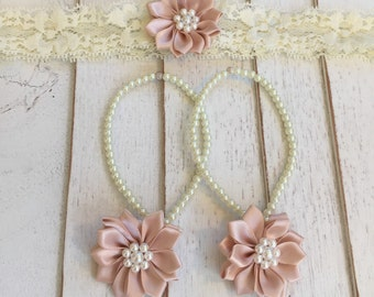 Baby Barefoot Sandals and headband set,baby girl gift,flower girl accessories,Baby Foot Jewelry,photo prop,baby shower gift