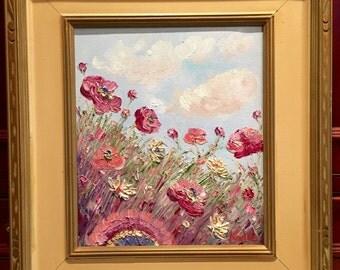 KADLIC Original Oil Painting French Pink Poppies  Landscape Impressionism Fine Art Vintage 1940s Frame 16x20