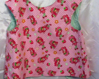 Strawberry Shortcake toddler bib, apron or art smock 2-5 years lined big button in the back adjustable closure