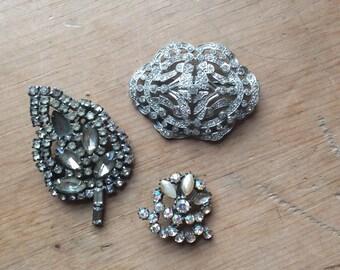 Vintage Rhinestone Pins Set of Three