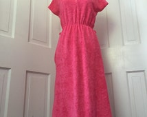 70's hot pink terry cloth day dress