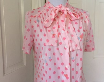 70's sweet light pink polyester blouse