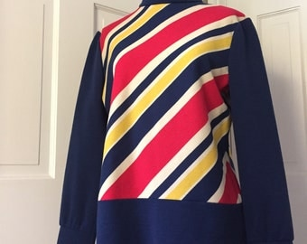 60's navy blue polyester long striped tunic top