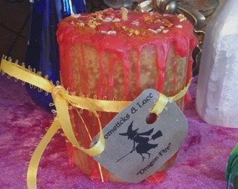 Dragon Fire Cleansing Lemon Cayenne Witchcraft Wicca Pagan Candle