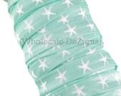 "Brook Green and White Starfish Print FOE - Nautical Shells Beach Fold Over Elastic 5/8"" Print Foe Headbands - Hair Ties Shiny Satin Elastic"