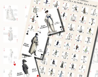 Jane Austen's Characters Playing Card Printables, SCRABBLE TILE SIZE (.75 x .83 Inches or 19 x 21mm), 48 Total,