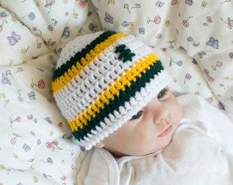 BABY FOOTBALL HAT, Baby Boy Football, Football Baby Knit Hat, Green Gold Football, Crochet Baby Boy, Baby Crochet Football, Crochet Hat