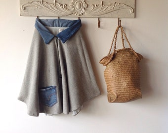 Womens Grey Wool Cape.Free size.made to order