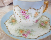 Klingenberg Limoges France Blue Floral Hand Painted Rose Gold Stippling Demitasse Cup Saucer