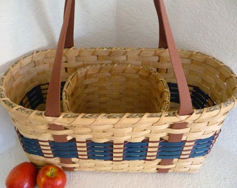 "BASKET PATTERN ""Faye"" Tote Divided Basket with Shaker Tape"