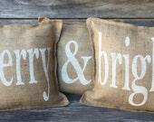 Merry & Bright Burlap Pillow Covers,Burlap pillows,Christmas Pillows, Christmas pillow covers, Front Porch Pillows