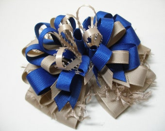 Over the Top Hair Bow Royal Blue and Khaki Unique School Uniform Big Boutique Girl Korkers