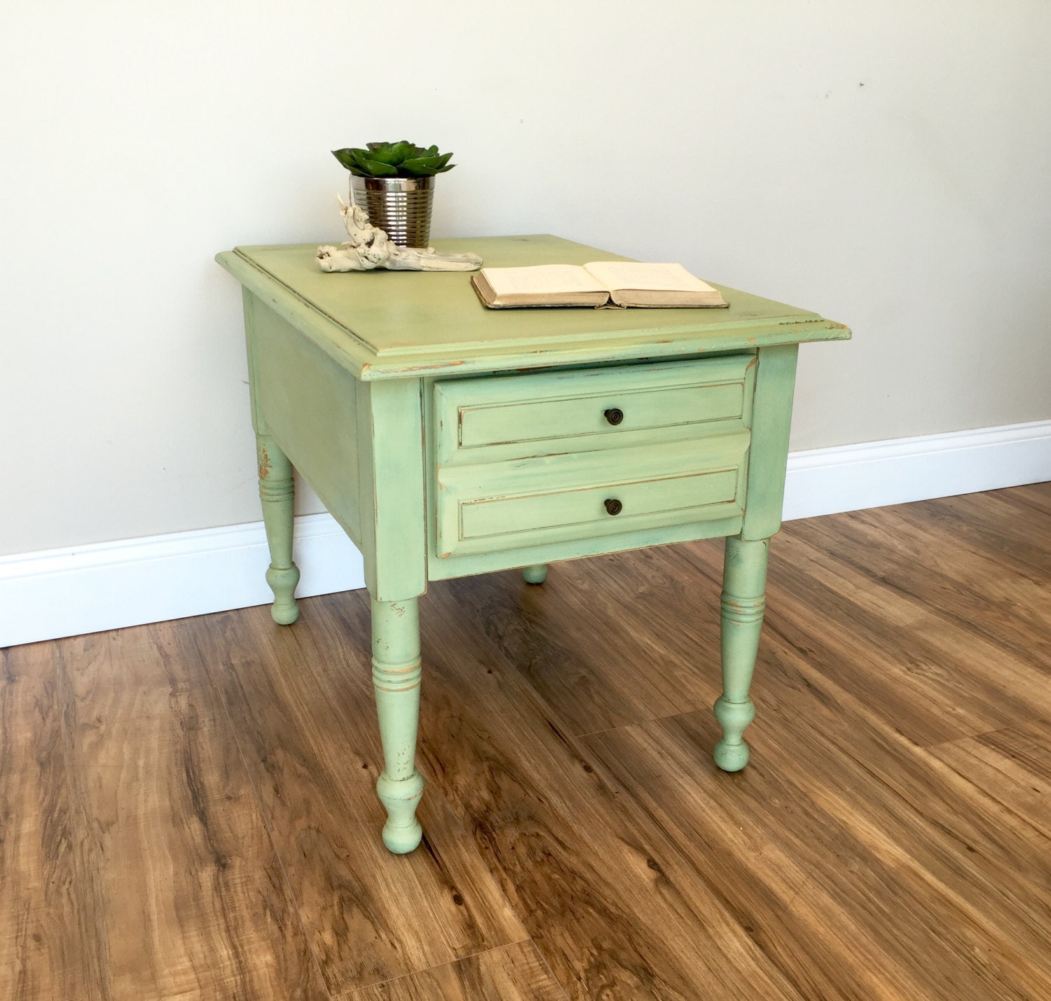 Green End Table - Sofa Side Table - Country Cottage Furniture ...