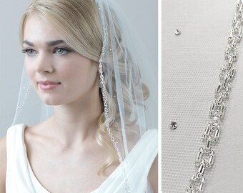 Beaded Wedding Veil, Beaded Bridal Veil, Rhinestone Veil, Beaded Edge Veil, Veil with Beading, Ivory Veil, Fingertip Length Veil ~VB-5042