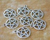 10 wicca pentagram antique silver gothic charm pendant