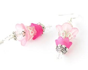Lucite flower crystal unique women earrings