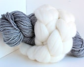 Thrummed MITTEN Kit - Pewter/Natural - Hand dyed Merino yarn, roving and pattern