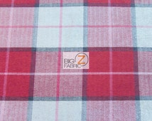 Luxury Tartan Plaid Upholstery Fabric - RED - Sold By Yard Sofa Curtains Home Decor Bedding Furniture Drapery Double Sided