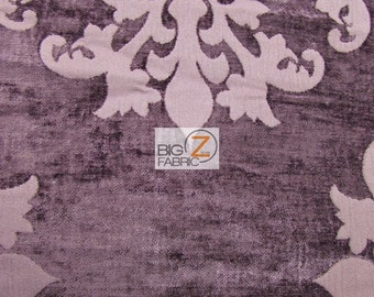 Floral Medallion Upholstery Chenille Fabric - PLUM - By The Yard Sofa Curtains Home Decor Double Rubs Drapery Damask