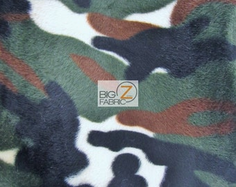 """Velboa Faux Fake Fur Animal Camouflage Short Pile Fabric - ARMY - Sold By The Yard 58""""/60"""" Width"""