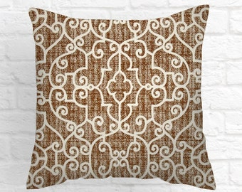 Brown Pillow Cover .Decorator Pillow Cover  18 x18  .Home Decor.Cushions. Cushion.Pillow.Colors include ivory and Caramel