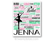 Ballet Typography Art Canvas or Print, Girl's Room Art, Choose the Colors, Personalized Gift for any Ballerina, Ballet or Dance Team Coa