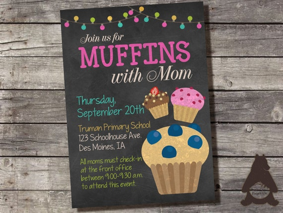Muffins with mom invitation preschool daycare by rockcreekpaperco - Muffins fur kindergarten ...