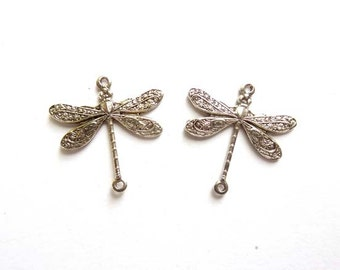 2 Antique Silver Dragonfly Connectors - 2-IN-11