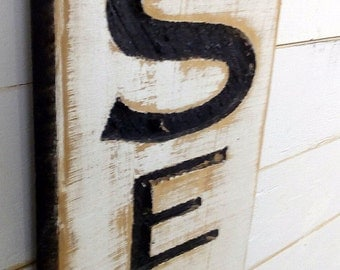 "Seafood Sign-41""T Carved Cypress Board Rustic Distressed Advertisement Farmhouse Style Restaurant Fish Wood Fixer Upper Joanna Gaines Style"