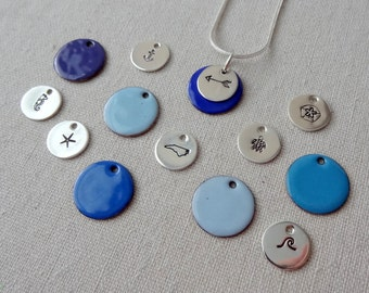 Blue Create Your Own Sterling Silver & Enamel Pendant - Initial, NC, Wave, Anchor, Arrow, Starfish, Turtle, Seahorse, or Sand Dollar