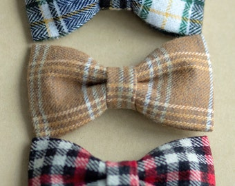 NEW - Baby to Boy Bow Ties - Handmade Fabric Bowties - Plaid Flannel bowties for Babies up to young Boys - Choose ONE from 3 colours - Plaid