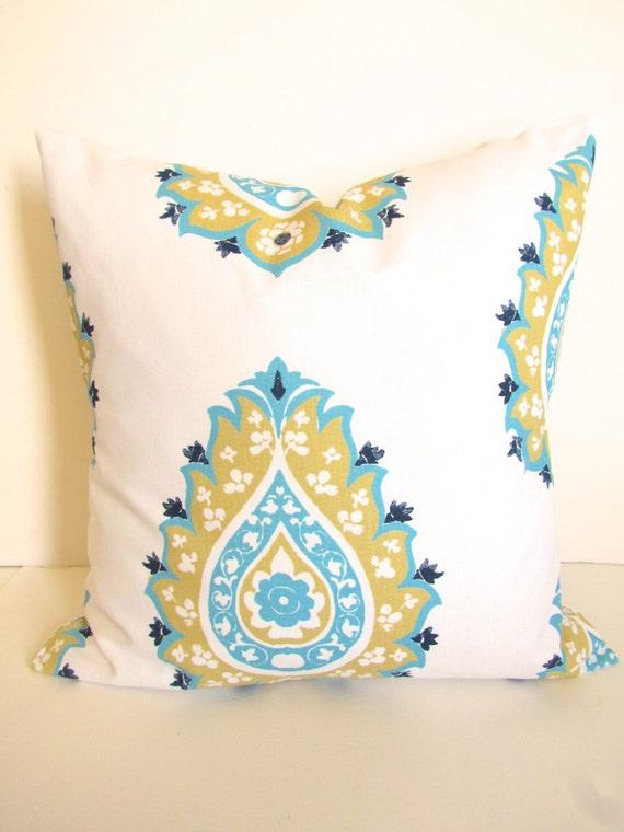 PILLOW Turquoise Throw Pillows Aqua Turquoise Yellow Gold