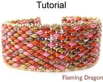 Beading Tutorial Pattern - SuperDuo Beaded Bracelet - Simple Bead Patterns - Flaming Dragon #18061