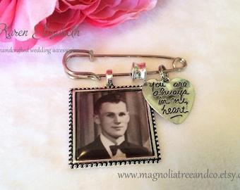 Lapel Pin, Boutonniere, Bridal Bouquet Charm, Custom photo, Memorial, Groom, Wedding, Tuxedo, Karen Elizabeth, Always In My Heart, LP02