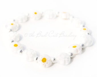 Yellow White Daisy Silver Stack Stretch Boho Beaded Bracelets