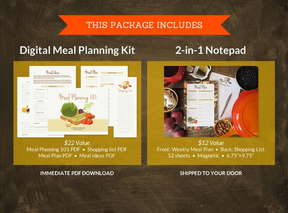 BUNDLE: Meal Plan / Shopping List Notepad + The (ever-so-reasonable) Meal Planning Kit