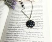 Black Dot Necklace, Polka Dot Necklace, Black Button Necklace, Fabric Button Necklace, Black Dot Pendant,Long Chain necklace,Polka Dot Jewel