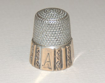 Victorian Sterling Silver Thimble with Initial A