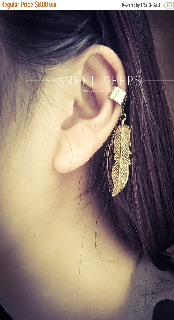 Valentines Sale Gold Feather EarCuff