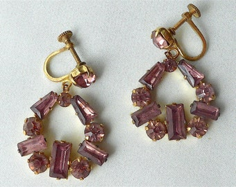 Pendant drop earrings, screws, Late Deco, vintage.  They are pale purple faceted diamante & are claw set.  c late 1930's to early 50's.