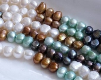 "1-15.5"" Strand Multi Colored Gray AB, Seafoam Green, Brown, Off White Cream Baroque Style Freshwater Pearl Average Size 7-9mm (58 Beads)"