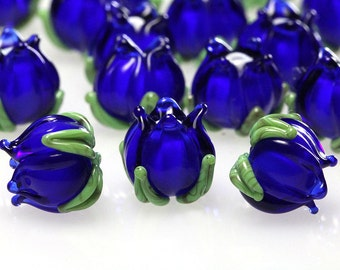 Sapphire blue lampwork beads,  glass bells 10mm, handmade flowers, sra