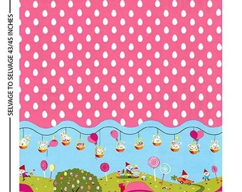 Easter in Gnomeville border fabric - gnomes running and Easter basket factory rabbits chicks eggs - Michael Miller - by the YARD