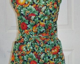 Fall Pumpkins and Gourds on Black Bib Apron handmade by Jane Ellen